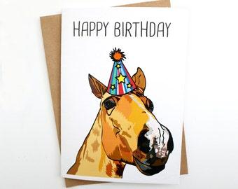 Horse Illustration Birthday Card | Greetings Card | Funny Card | Humorous Card | Hand drawn Card
