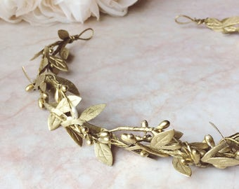 Gold leaf crown, Gold wedding crown,  floral crown, rustic crown, rustic wreath, gold leaves halo, gold leaf wereath, gold leaves geadpiece,