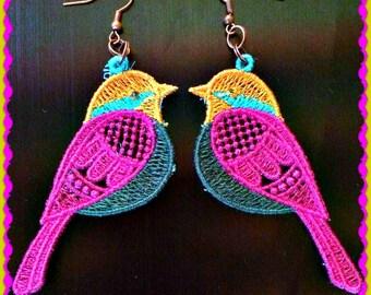 Cute bird  fsl earrings