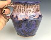 ceramic coffee mug, unique coffee mug, wheel thrown cup, butterflies, purple mug, textured pottery