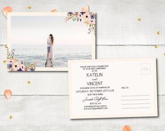 "Wedding Invitation PostCards - Magalie | Sweet Floral Photo Invitation Postcard | Whimsical Flowers Wedding Invitation Personalized 4""x6"""