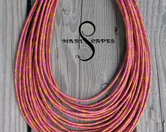 Jacquard yarn-wrapped necklace - rainbow / hippie / bohemian / tribal / thread-wrapped / 100% cotton