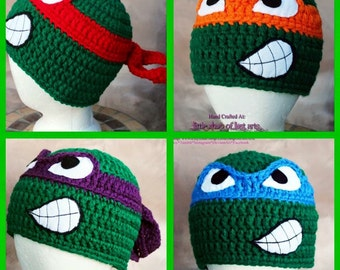 Hat of the week sale! TMNT inspired thick handmade crochet hat ready to ship.