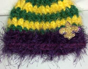 Infant Mardi Gras hat-Mardi Gras fascinator-mardi gras baby-3 in 1 hat-shabby Mardi Gras flower-mardi gras hair clip-mardi gras crochet hat