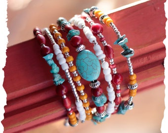 Mother's Day! Southwest Boho Memory Wire Bracelet in Turquoise, Silver, Beet Red Riverstone and white and orange glass beads
