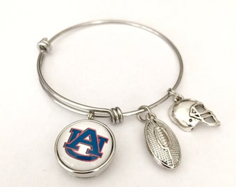 Auburn Tigers Football Bracelet. Auburn Tigers Snap Button Bracelet