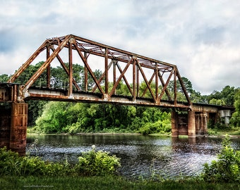Railroad Bridge Photograph, Logansport to Texas Railroad Bridge, Bridge Arcitecture Color or Black and White Fine Art Print or Canvas Wrap