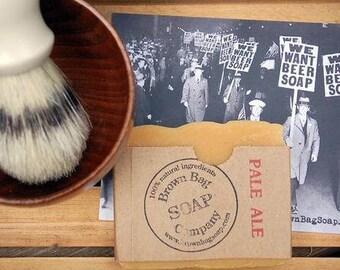 Beer Soap Shave Kit- Pale Ale Beer Soap- Shaving Kit- We Want BEER Soap! - Brown Bag Soap Company