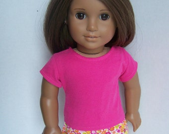 Orange Floral Boxer Shorts and Pink T Shirt - Fits 18 inch dolls