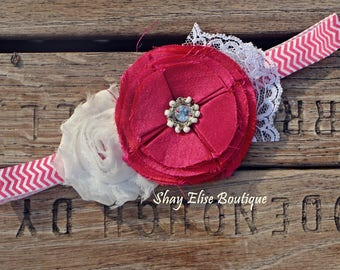 Hot Pink White and Lace Chevron Headband