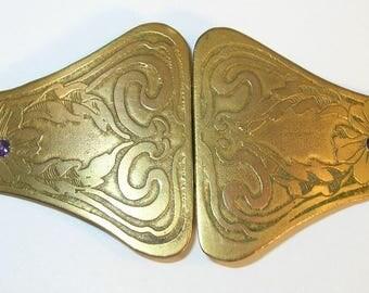 Art Nouveau 2-Piece Belt Buckle Gold Tone. Flower with Purple Center Stone