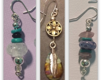 Cremains- Ash, glass, & silver earrings