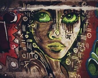Urban Street Art Girl Face Graffiti Colorful Drawing Art Print Fine Art Photography Modern Graffiti Wall Decor Teenager Room Art Abstract