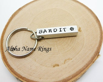 Pet Name Key Chain - Hand Stamped, Aluminum Bar Key Chain.