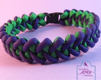 Purple Green Paracord Bracelet, Shark Jaw Bone Paracord Bracelet, Purple Bracelet, UK