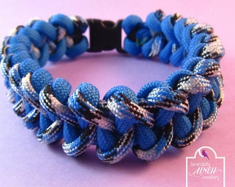 Light Blue Paracord Bracelet, Shark Jaw Bone Paracord Bracelet, Light Blue Bracelet, UK