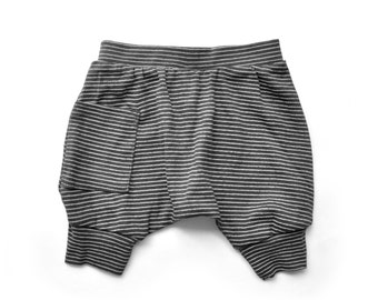 Baby Boy Clothes - Baby Boy Shorts <<8 Days Delivery To US & Canada>> Organic Baby Clothes, Baby Shorts, Baby Harem Shorts - Stripes Black