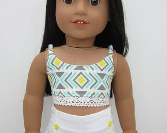 18 inch  doll clothes-   Spaghetti strap crop top with crochet lace trim.