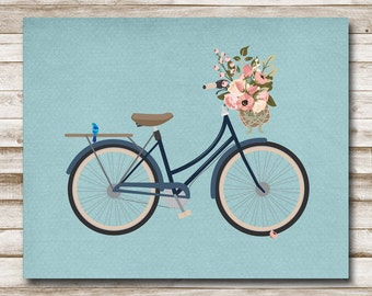 Vintage Bicycle Printable Navy Bike Art Flower Basket Teen Decor Nursery Art Office Decor 5x7 8x10 11x14 Photography Prop