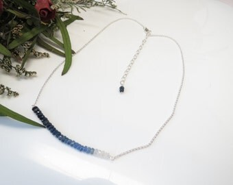 Blue Sapphire Necklace, September Birthstone, Ombre Sapphire Necklace In Sterling Silver, 16-18.75 Inches Length, Ombre Sapphire Jewelry