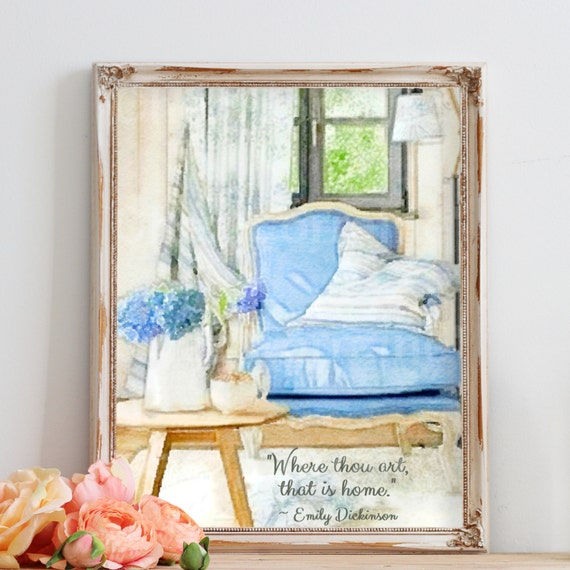 Shabby Cottage Chic Nest Prints Home Decor Wall Art ~ Shabby chic watercolor print emily dickinson home quote blue