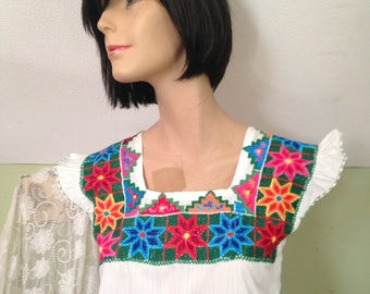 Del Marque's Designed Summer Shift Dress Valladolid De Yucatan Hand Embroidered Flowers around Neck Line and Hemline