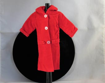 Vintage Doll Clothes Red Corduroy Clone Coat British Crown Colony of Hong Kong Fashion for Fab Lu Babs Bild Lilli Barbie Midge Gifts for Her