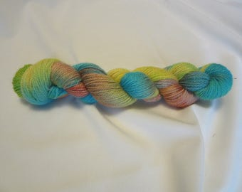 Hand Dyed/Painted - Turquoise, Salmon and Yellow - 3 Ply Sport Weight Alpaca Yarn - Grade 2- Superfine - 2.5 oz. - 200 Yds - 14-18 WPI