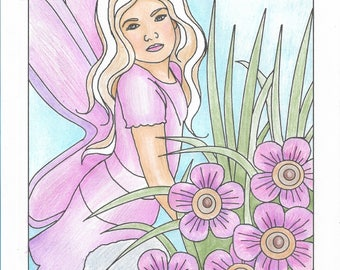 Fairy Coloring Page, Adult Coloring Page. Instant Digital Download, Digital Digi Stamps, Flower Coloring Page