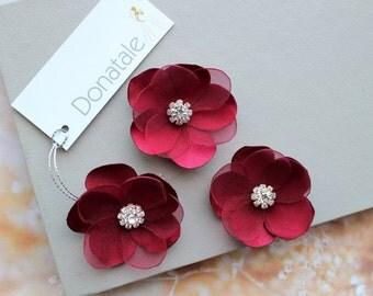 Burgundy Red  Flower Hair Pins,Wedding hair piece, Bridesmaid Hair Flowers,Small  Bridal Hair flowers, Rustic Headpiece, Burlap headpiece