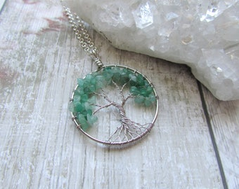 Green Aventurine Gemstone Tree Of Life Pendant Necklace- Silver Plated Green