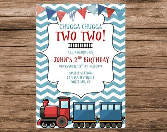 Chugga Chugga Two Two, Train Birthday, Digital Invitation