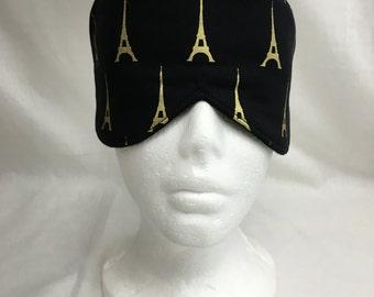 Black and Gold Eiffel Tower Cotton Sleep Mask and Case Set, Eye Mask, Travel Mask