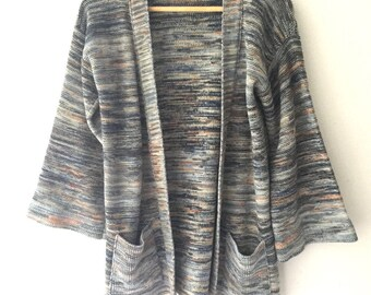 Vintage Hippie Boho space dye sweater, 70s bell sleeve cardigan, cool tones - womens s / m / l