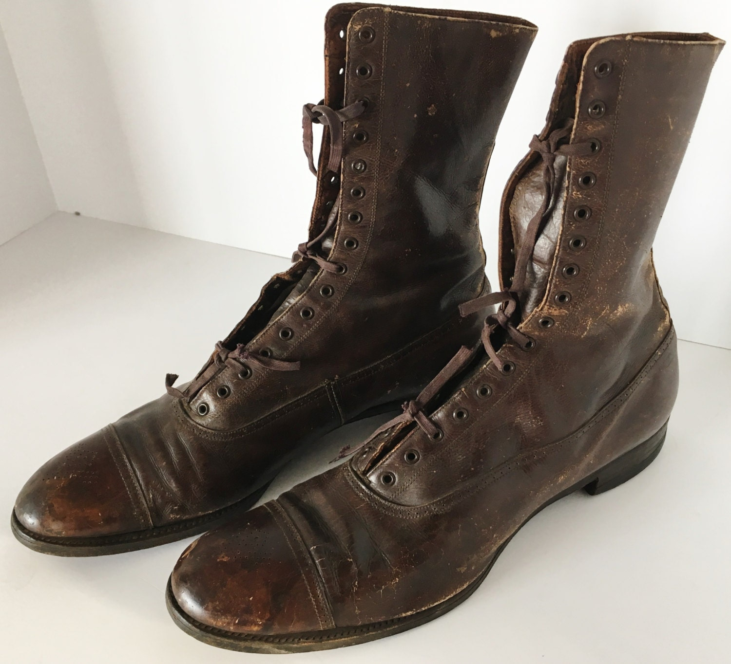 early 1900 s buster brown high lace boots