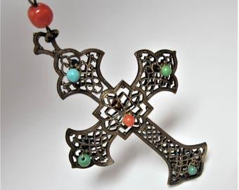 Antique vintage brass cross necklace