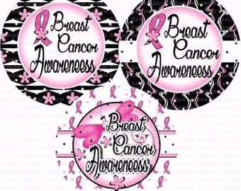 Breast Cancer Awareness (18) Bottle Cap Images 4x6 Bottlecap Collage Scrapbooking Jewelry Hairbow Center