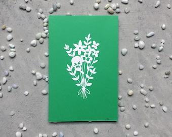 Small wildflower bouquet papercut - Original handcut artwork - paper cut flowers - mounted papercut - ready to frame original art