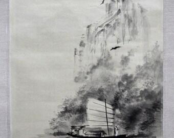 Chinese mountain landscape. Boat and river. Original sumi-e painting. Chinese brush art. Japanese brush painting.
