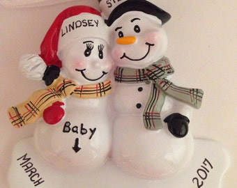 We're Expecting / New Parents / Pregnancy Personalized Christmas Ornament