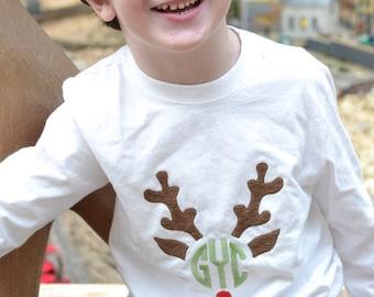 Monogrammed Boys Christmas Shirt with reindeer, Boys Reindeer Shirt, Personalized Christmas Tee, Boys Monogrammed Christmas Shirt