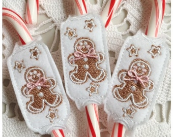 In the Hoop Frosted Christmas Cookies Candy Cane Slider Machine Embroidery Instant Download Design