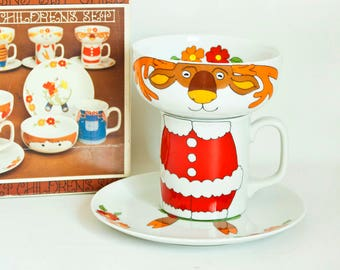 Vintage Interpur Stacking Reindeer Dish Set, Santa Christmas Dishes Build a Character Child's Plate, Bowl and Teacup