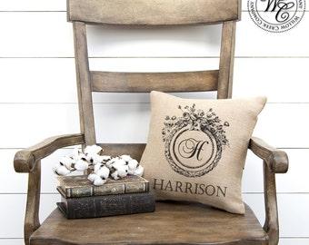 5th anniversary gift, Monogram Pillow, farmhouse decor, Elegant Monogram, Modern farmhouse, Family Name Pillow, gift for the bride