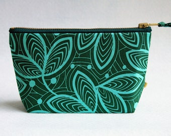 "7"" ""Leaves"" pouch w/ brass zipper, lavender lining"