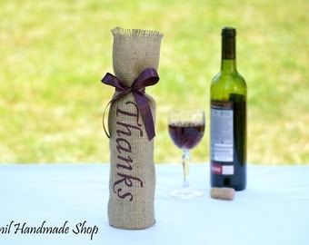Burlap Wine Bags, Wine Gift Bags, Wine Bottle Bags, Wine Tote Bags, Thank You Gift, Wine Bottle Holder, Dark Blue Tote Bags