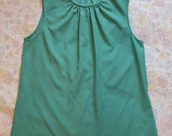 Frayne Turquoise / Teal Sleeveless Blouse - made in USA - size Small - Medium