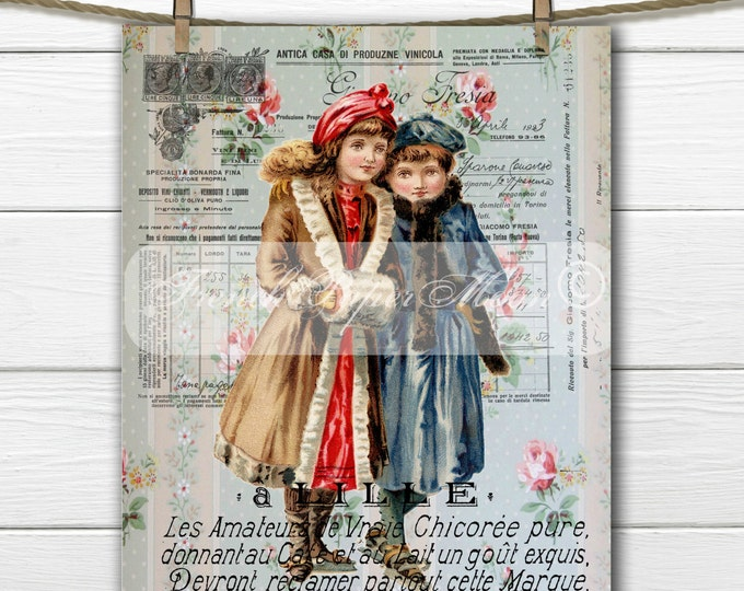 Digital Vintage Ice-skating French Graphic, Victorian Girls, Ice-Skating, Instant Download French Fabric Transfer Image