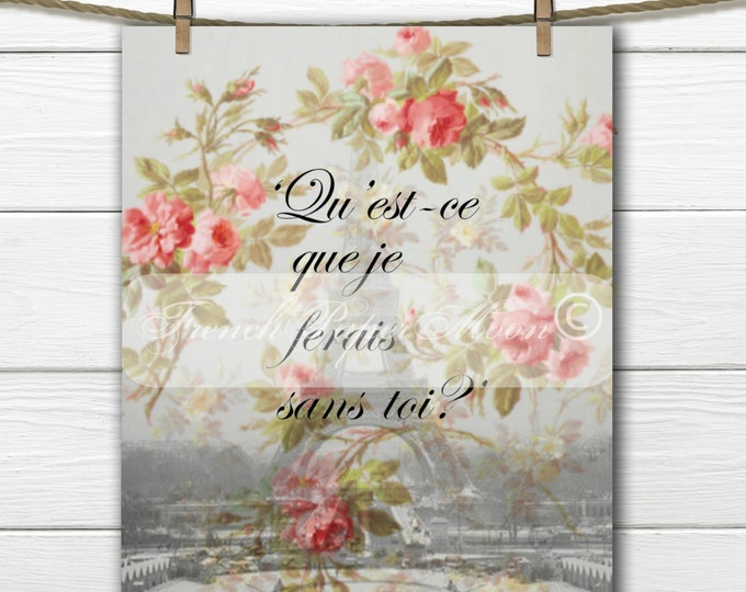 Vintage Digital Shabby Chic Paris Printable, French Quote, Roses, French Pillow Transfer Graphic