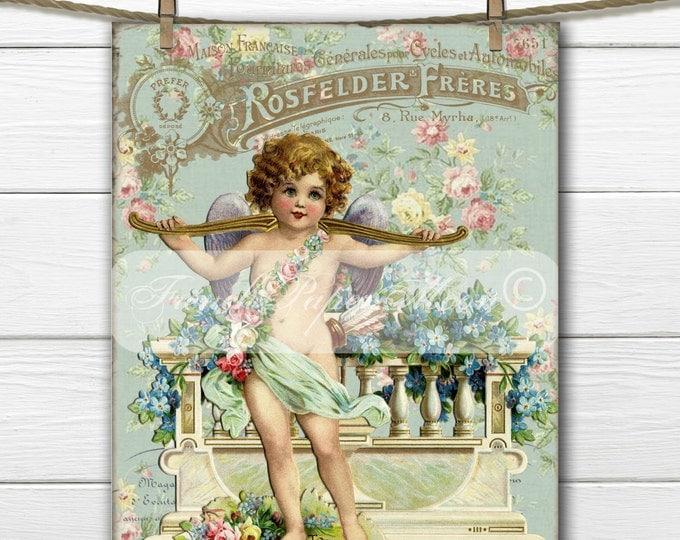 Vintage Digital Shabby Vintage Cherub, Victorian Valentine Cherub, French Valentine Transfer Image, Instant Download